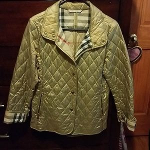 Gold quilted Burberry jacket